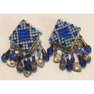 RETRO OLD SKOOL Dangle Earrings CLIP ONS Beads ETC